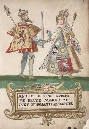 Robert the Bruce and Elizabeth de Burgh, from the Seton Armorial