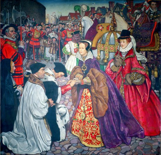 """Entry of Queen Mary I with Princess Elizabeth into London in 1553"" by John Byam Liston Shaw, 1910"