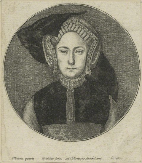 Queen Mary I when Princess Mary by Wenceslaus Hollar, after Hans Holbein the Younger line engraving, possibly 1647 NPG D24193 © National Portrait Gallery, London