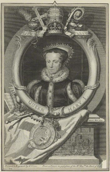 Queen Mary I by George Vertue, after Hans Eworth line engraving, 1736 NPG D24874 © National Portrait Gallery, London