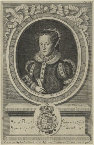 Queen Mary I by Robert White line engraving, 1681 NPG D24876 © National Portrait Gallery, London