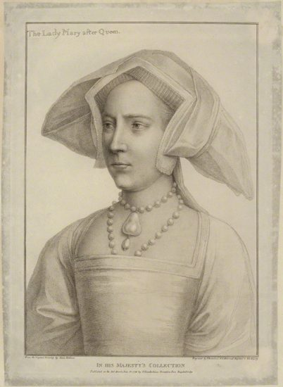 Queen Mary I when Princess Mary by Francesco Bartolozzi, after Hans Holbein the Younger stipple engraving, published 1796 NPG D24878 © National Portrait Gallery, London