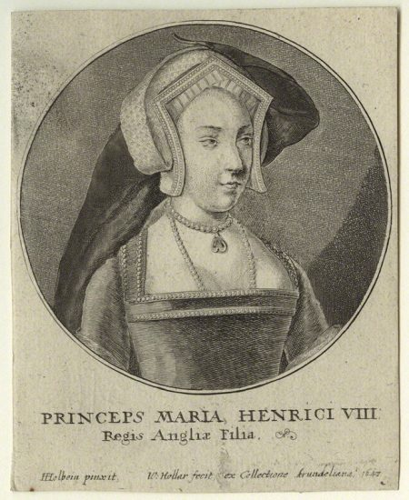 Queen Mary I when Princess Mary by Wenceslaus Hollar, after Hans Holbein the Younger etching, 1647 NPG D31946 © National Portrait Gallery, London
