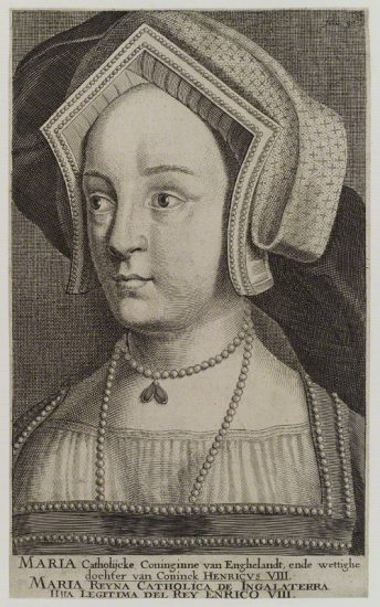 Queen Mary I when Princess Mary after Hans Holbein the Younger line engraving, circa 1700 NPG D18729 © National Portrait Gallery, London